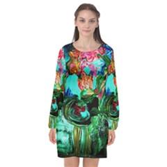 Flowers On The Tea Table Long Sleeve Chiffon Shift Dress  by bestdesignintheworld
