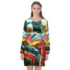 Aerobus Long Sleeve Chiffon Shift Dress  by bestdesignintheworld