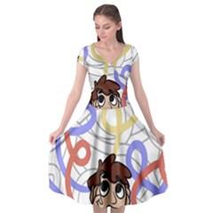 Unordered Chaos Cap Sleeve Wrap Front Dress by Simbadda