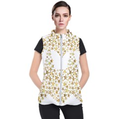 Star Fractal Gold Shiny Metallic Women s Puffer Vest by Simbadda
