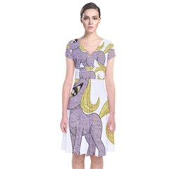 Unicorn Narwhal Mythical One Horned Short Sleeve Front Wrap Dress by Simbadda