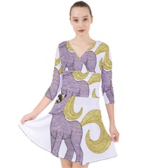 Unicorn Narwhal Mythical One Horned Quarter Sleeve Front Wrap Dress by Simbadda