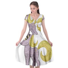 Unicorn Narwhal Mythical One Horned Cap Sleeve Wrap Front Dress by Simbadda