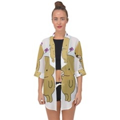 Cute Bear Cartoon Open Front Chiffon Kimono by Simbadda