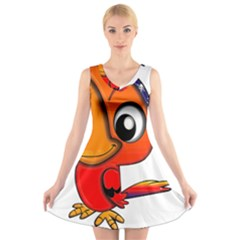 Bird Cartoon Character Parrot V Neck Sleeveless Dress by Simbadda