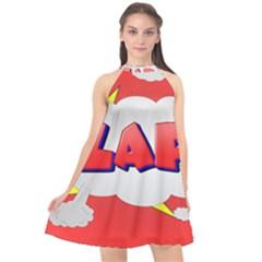 Comic Bubble Popart Cartoon Action Halter Neckline Chiffon Dress  by Simbadda
