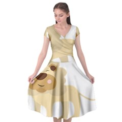 Lion Cute Sketch Funny Cap Sleeve Wrap Front Dress by Simbadda