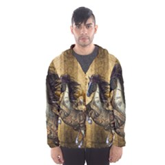 Awesome Steampunk Horse, Clocks And Gears In Golden Colors Hooded Wind Breaker (men)