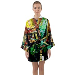 Old Tree And House With An Arch 5 Long Sleeve Kimono Robe by bestdesignintheworld