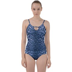 Blue Leopard Print Cut Out Top Tankini Set by CasaDiModa