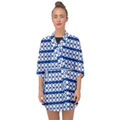 Circles Lines Blue White Pattern  Half Sleeve Chiffon Kimono by BrightVibesDesign