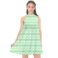 Circles Lines Green White Pattern Halter Neckline Chiffon Dress  by BrightVibesDesign