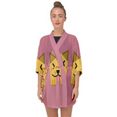 Pet Animal Feline Domestic Animals Half Sleeve Chiffon Kimono by Simbadda