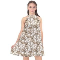 Leaves Texture Pattern Halter Neckline Chiffon Dress  by dflcprints