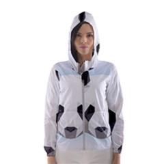 Background Show Graphic Art Panda Hooded Windbreaker (women) by Simbadda
