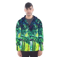 Old Tree And House With An Arch 3 Hooded Windbreaker (men) by bestdesignintheworld