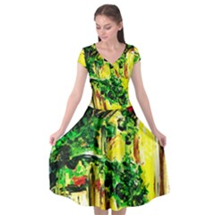 Old Tree And House With An Arch 2 Cap Sleeve Wrap Front Dress by bestdesignintheworld