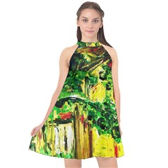 Old Tree And House With An Arch 2 Halter Neckline Chiffon Dress  by bestdesignintheworld