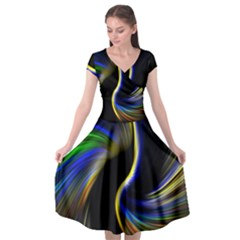 Church Abstract Cap Sleeve Wrap Front Dress by bywhacky