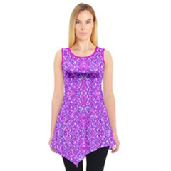 Officially Sexy White Blue & Pink Small Pattern Sleeveless Tunic by OfficiallySexy