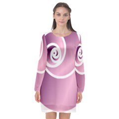 Long Sleeve Chiffon Shift Dress  by Jylart