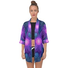 Blown Glass Flower Of An Electricblue Fractal Iris Open Front Chiffon Kimono