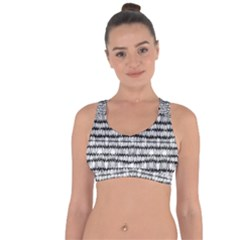 Abstract Wavy Black And White Pattern Cross String Back Sports Bra by dflcprints