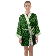 Canal Flowers Cream Pattern Cream Background Sqaured Canal Flowers Cream On Green Small Squared Canal Plaques Galore Canalsbywhackylogo1 Long Sleeve Kimono Robe by bywhacky