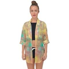 Pink Pastel Abstract Open Front Chiffon Kimono by digitaldivadesigns