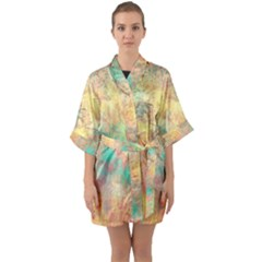 Pink Pastel Abstract Quarter Sleeve Kimono Robe by digitaldivadesigns