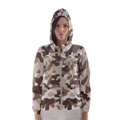 Camouflage Brown Pattern Hooded Windbreaker (women) by goodart