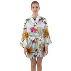 Flower Wallpaper Pattern Long Sleeve Kimono Robe by goodart