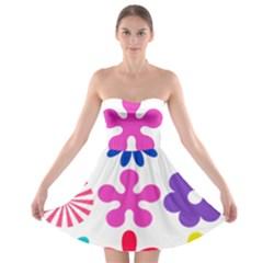 Retro Flower Ornaments Strapless Bra Top Dress by goodart