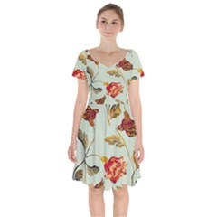 Cream And Green Background Flowers  Short Sleeve Bardot Dress by bywhacky