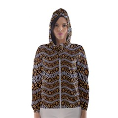Modern Wavy Geometric Pattern Hooded Windbreaker (women) by dflcprints