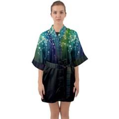 Colorful Space Rainbow Stars Quarter Sleeve Kimono Robe by LoolyElzayat