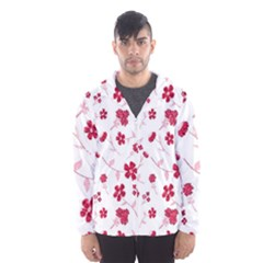 Sweet Shiny Floral Red Hooded Windbreaker (men) by ImpressiveMoments