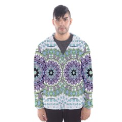 Hearts In A Decorative Star Flower Mandala Hooded Windbreaker (men) by pepitasart