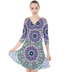 Hearts In A Decorative Star Flower Mandala Quarter Sleeve Front Wrap Dress by pepitasart