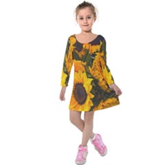 Sunflowers Kids  Long Sleeve Velvet Dress by bloomingvinedesign