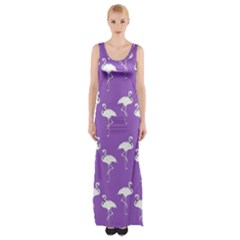 Flamingos Pattern White Purple Maxi Thigh Split Dress by CrypticFragmentsColors