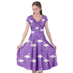 Flamingos Pattern White Purple Cap Sleeve Wrap Front Dress by CrypticFragmentsColors