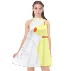 Mutt Dog Animal Domestic Vector Halter Neckline Chiffon Dress  by Nexatart