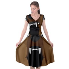 Bear Brown Set Paw Isolated Icon Cap Sleeve Wrap Front Dress by Nexatart