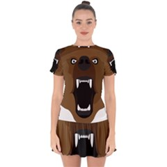 Bear Brown Set Paw Isolated Icon Drop Hem Mini Chiffon Dress