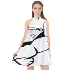 Dog Leash Lead Running Animal Halter Neckline Chiffon Dress  by Nexatart