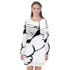 Dog Leash Lead Running Animal Long Sleeve Chiffon Shift Dress  by Nexatart