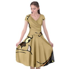 Bulldog Dog Head Canine Pet Cap Sleeve Wrap Front Dress by Nexatart
