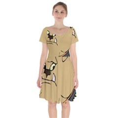 Bulldog Dog Head Canine Pet Short Sleeve Bardot Dress by Nexatart