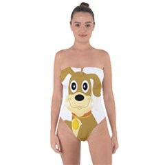 Dog Doggie Bone Dog Collar Cub Tie Back One Piece Swimsuit by Nexatart